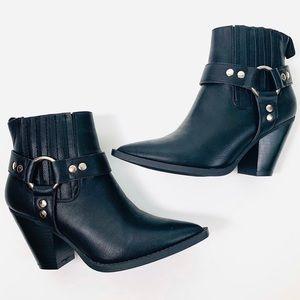 Fashion Nova Faux Black Leather Booties, Size 9